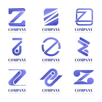 Gradient z letter logo collection