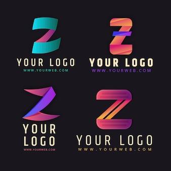 グラディエント#z文字のロゴセット