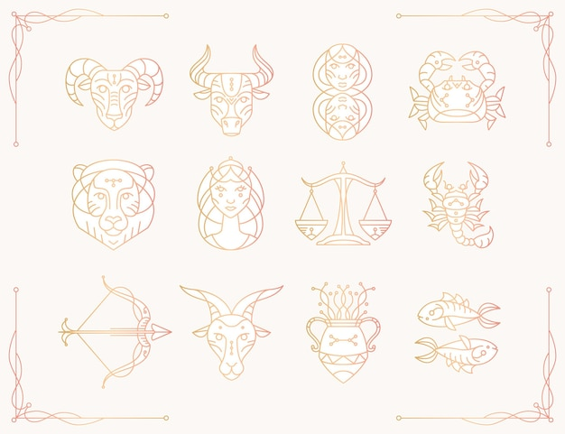 Gradient zodiac sign collection