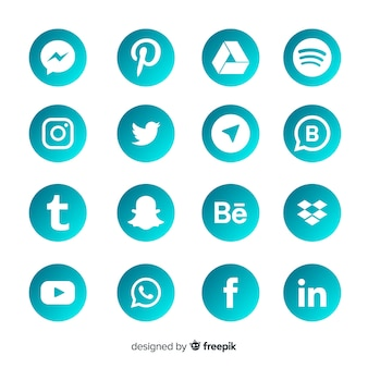 Коллекция логотипов gradient в социальных сетях