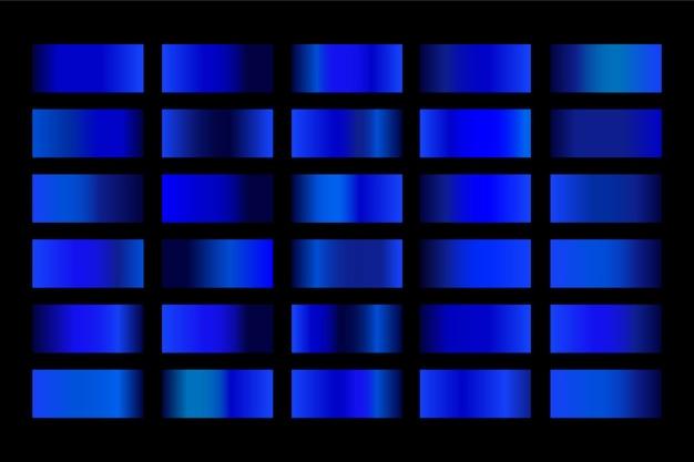 그라디언트 금속 그라디언트 파란색의 집합입니다.