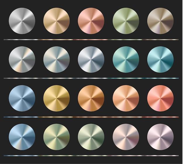 그라디언트는 템플릿, 금속 질감, 방사형 광택을 설정합니다.