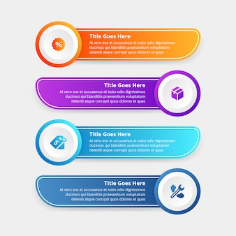 Gradients step infographic template flat design