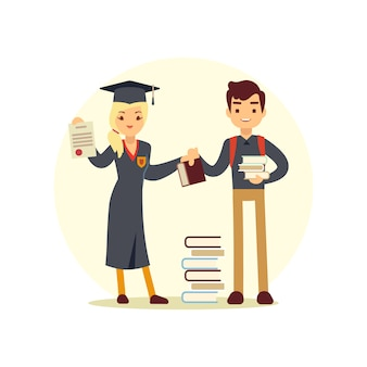 Graduate and books to student. cartoon character school people