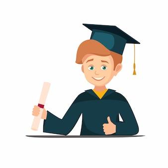 Graduate boy holds a scroll diploma