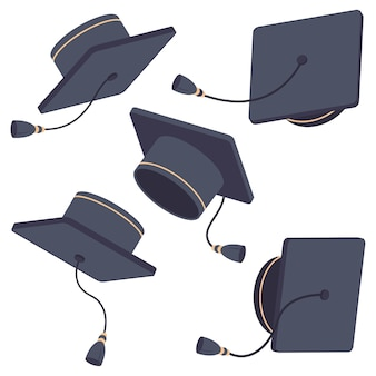 卒業キャップのイラスト。さまざまな位置で空中の帽子ベクトル漫画フラットセット分離。