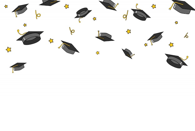 Graduate caps and confetti background