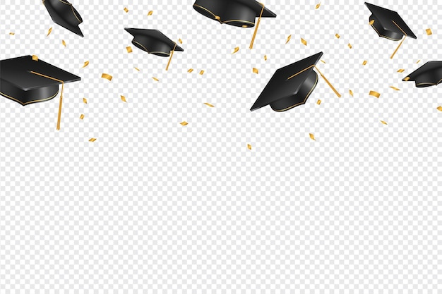 Graduate caps and confetti on a transparent background