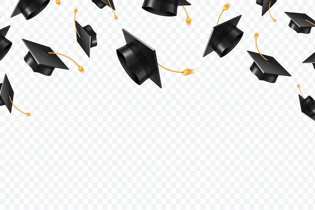 Graduate caps flying