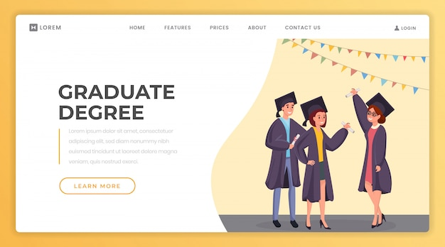 Graduate degree landing page  template.