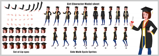 Graduate girl character model sheet with walk cycle animations and lip syncing