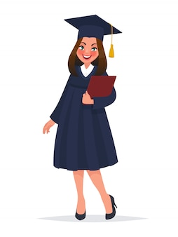 Graduate girl in mantle with diploma.
