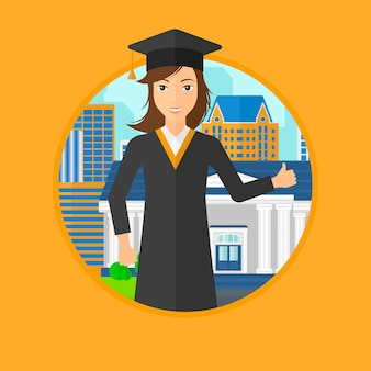 Graduate giving thumb up.