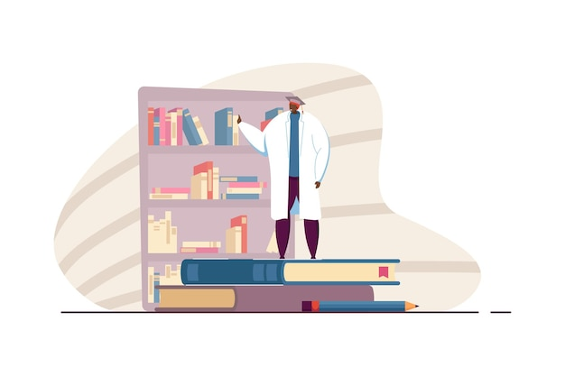 Выпускник в медицинском халате изучает книги. мужской персонаж в выпускной шляпе, стоящей на огромных книгах плоской векторной иллюстрации. знания, образовательная концепция для баннера, веб-дизайна или целевой веб-страницы