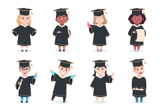 Graduate kids. kindergarten preschool graduating children in graduation cap with diploma  cartoon characters
