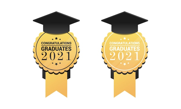 Graduate medals round golden sign with academic cap and congratulation text vector illustration