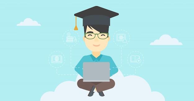 Graduate sitting on cloud vector illustration.