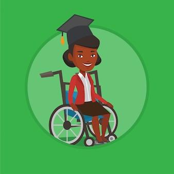 Выпускник сидит в инвалидной коляске векторная иллюстрация