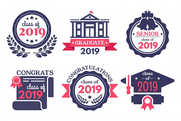 Graduate student badge. congratulations graduates, graduation day badges and school graduation vector illustration set