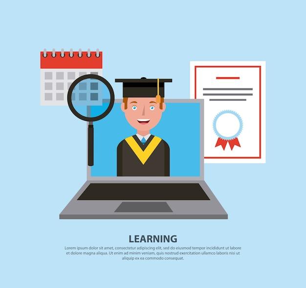 Graduate student boy in laptop calendar learning