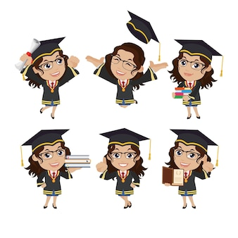 Graduate student characters with different poses