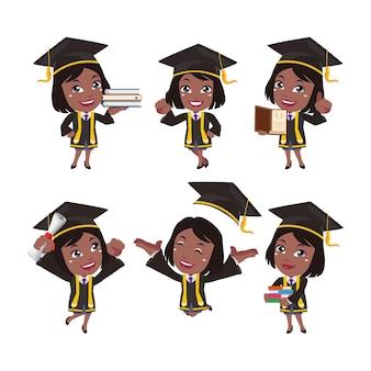 ポーズの異なる大学院生のキャラクター