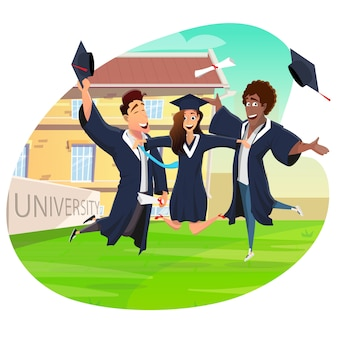 Graduate student jumping achieved diploma steps