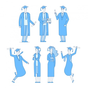 Graduate students character. student group graduates high school graduated young male female in academic robe.  linear set