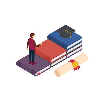 大学院、研究、教育、大学。本のステップを歩いて卒業の帽子を得る人々