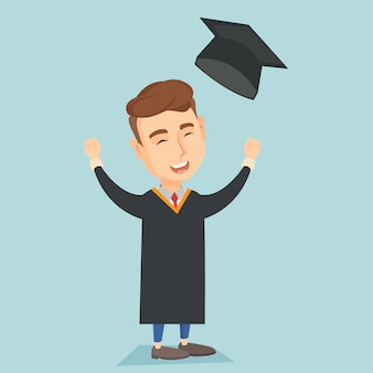 Graduate throwing up graduation hat.