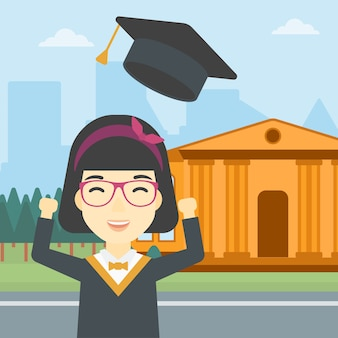 Graduate throwing up her hat vector illustration.