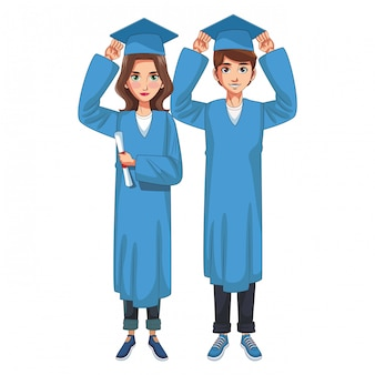 Graduate young couple cartoon