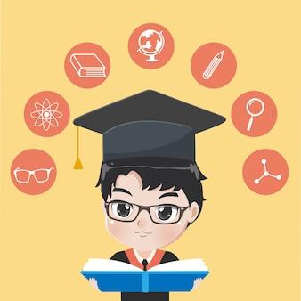 Graduated boy reads book..