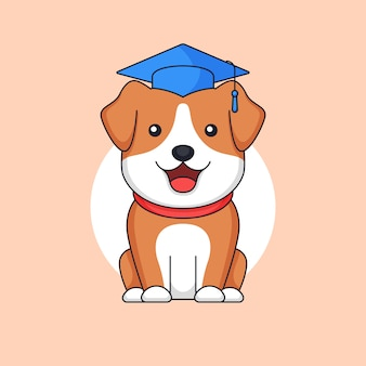 Graduated cute dog standing wear toga hat animal school outline illustration mascot