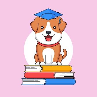 スタックブックの上に立っている卒業犬はトーガ帽子をかぶる