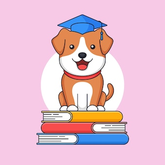 Graduated dog standing on top of stack book wear toga hat