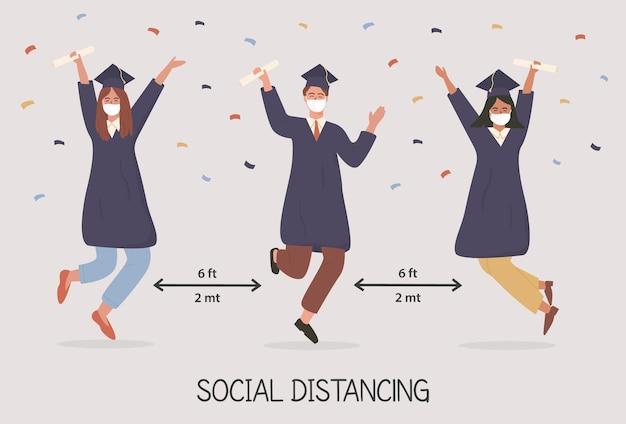 卒業生がジャンプしてフェイスマスクのアカデミックドレスを着ている