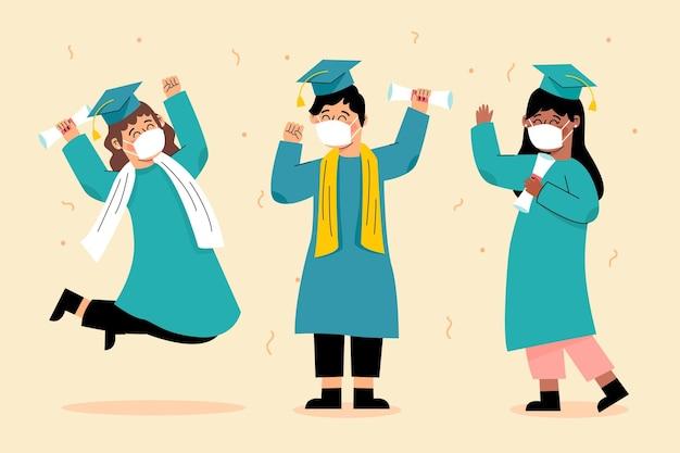 Выпускники в масках иллюстрации