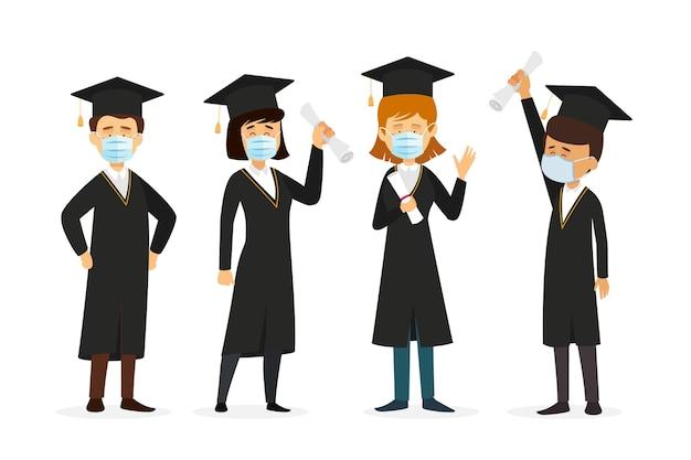 Laureati che indossano una collezione di maschere mediche