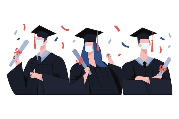 医療用マスクを着用している卒業生