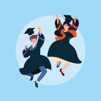 Graduating boy and girl student
