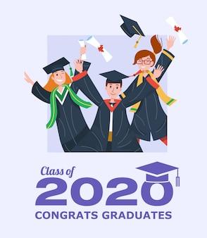 Выпускной класс 2020 баннер с аспирантами прыжки.