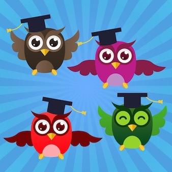 Graduating happy owls