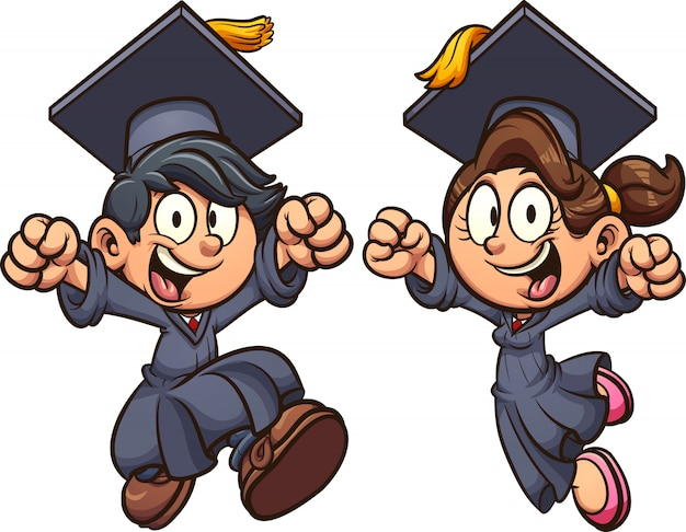 Graduating kids cartoon illustration
