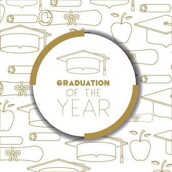Graduating lettering card with hat graduation
