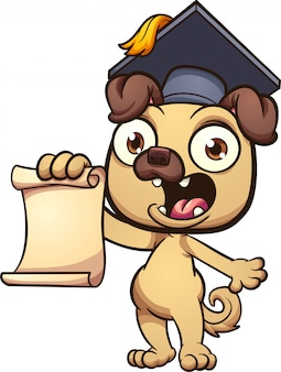 Graduating pug cartoon illustration