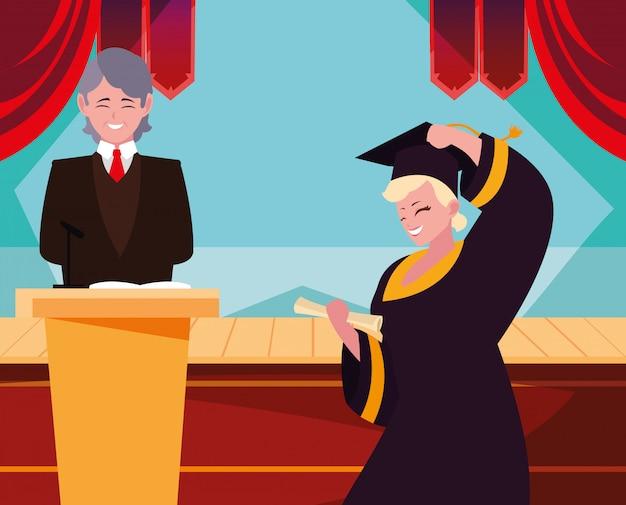 Graduating student in celebration