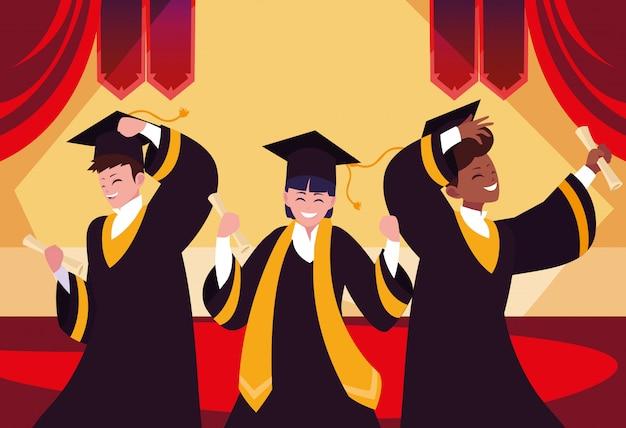 Graduating students in celebration