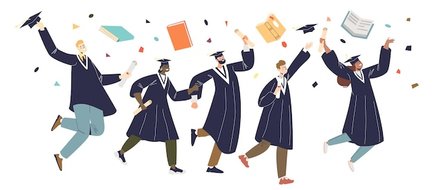 Graduating students group, graduates friends in gowns cheerful jumping. class celebrate college or university graduation with diploma degree. cartoon flat vector illustration