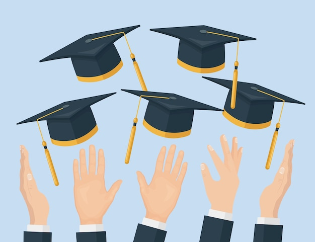 졸업 모자를 공중에 던지고 학업 모자를 날리는 졸업생